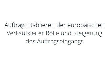 Auftrag: Etablieren der europäischen Verkaufsleiter Rolle und Steigerung des Auftragseingangs